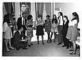 Sue Thompson, Kathy Kwock, Jan Lipsen, Helen Newman Tuttle, Loise Butler, Sherry Tonubbee Stewart, Carl Albert, Jane England Lawton, and others at Lawton's party. March 8, 1974.jpg