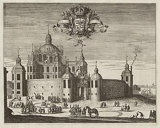 Svartsjö Palace - During the Renaissance era, Svartsjö Palace had a round court surrounded by arcades in two stories.  The main building was a large cube crowned by a cupola and small towers. Engraving from Suecia Antiqua et Hodierna.