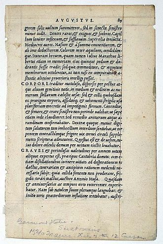 Sources for the historicity of Jesus - A 1540 copy of Lives of the Twelve Caesars by Suetonius