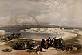 Suez, with figures, camels and a rainbow. Coloured lithograp Wellcome V0049456.jpg