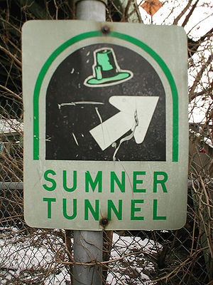 Sumner Tunnel - An old shield for the Sumner Tunnel, with the Masspike hat. This shield is no longer used.