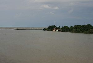 Supsa River - Supsa River entering the Black Sea