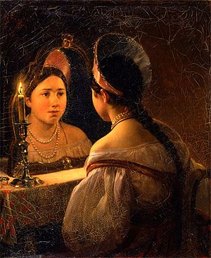 Catoptromancy - Russian folk catoptromancy by Karl Briullov, 1836