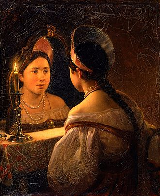 Self-consciousness - Svetlana reflects herself in the mirror (painting by Karl Briullov, 1836)