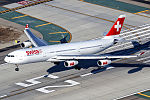 Swiss Airbus A340-313 about to touch down at LAX.jpg