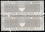 Switzerland Fribourg 1865 private acts revenue 5c - 23A Romont pair.jpg