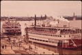 "THE ""BELLE OF LOUISIANA"" DOCKED AT THE ""NEW"" LOUISVILLE WATERFRONT ON THE OHIO RIVER. THE STEAMBOAT IS OWNED BY... - NARA - 543966.tif"