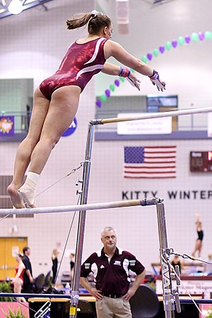 College athletics - Image: TWU Gymnastics (Bars) Amy Winczura (5694030475)