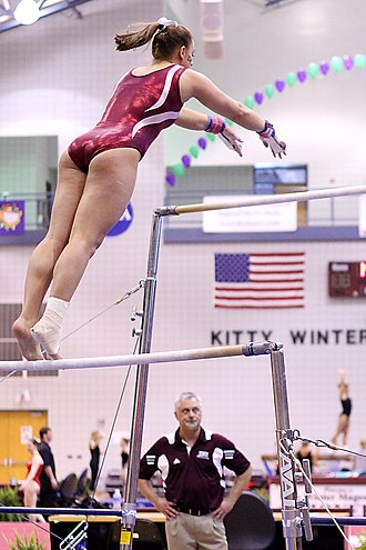 Athletics (physical culture) - Image: TWU Gymnastics (Bars) Amy Winczura (5694030475)