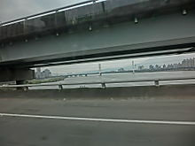 TW Taipei route 2 Taoyuen Airport - view road bridges Feb-2013.JPG