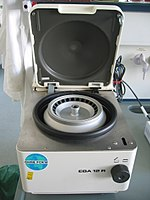 A laboratory tabletop centrifuge