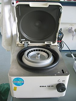 a machine called a centrifuge is used in