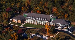 Tallulah Falls School - An aerial view of the school captured in fall 2014. This image showcases the recently expanded and renovated upper school academic building. Photo/Marie Nease-Wing Dreamer Photography