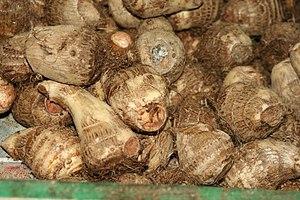 Eddoe - Image: Taro root for sale