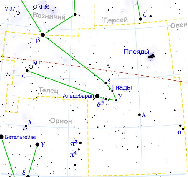 Плеяды возле созвездия Тельца