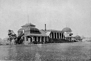 Shanghai Race Club - Grandstand at the Shanghai Racecourse, c. 1908.
