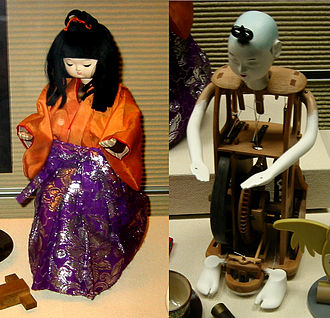 "Automaton - Tea-serving Japanese automaton, ""karakuri ningyō"", with mechanism (right), 19th century."