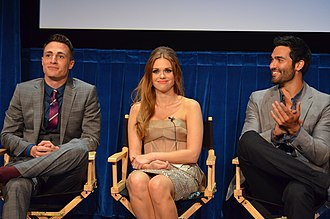 Tyler Hoechlin - Hoechlin (right) with his Teen Wolf co-stars Colton Haynes and Holland Roden