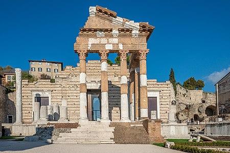 Roman ruins on Piazza del Foro square in Brescia
