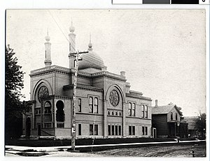 Temple Israel (Minneapolis) - Temple Israel, Minneapolis. 10th Street building circa 1890.