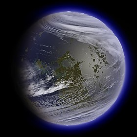 Artist's conception of what the Moon might look like terraformed, as seen from Earth.