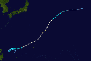 1964 Pacific typhoon season - Image: Tess 1964 track