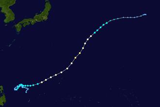 1964 Pacific typhoon season - Image: Tess 1964 track