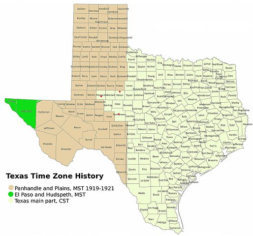 Time Zone Map Texas