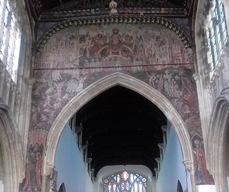 Salisbury - The 15th century Doom painting in St Thomas' church