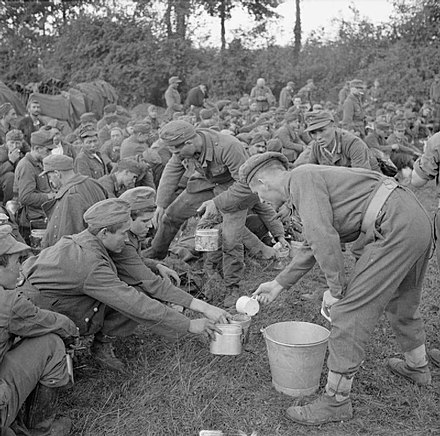 German prisoners taken during the battle are given tea by their captors. The British Army in Normandy 1944 B9627.jpg