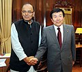 The CEO, Mitsui & Co. Ltd. and Chairman of Japan-India Business Co-operation Committee, Mr. Masami Iijima calling on the Union Minister for Finance, Corporate Affairs and Information & Broadcasting, Shri Arun Jaitley.jpg