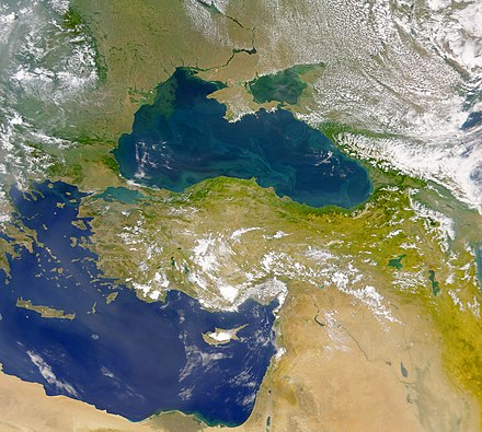 The Danube discharges into the Black Sea (the upper body of water in the image). The Danube Spills into the Black Sea.jpg