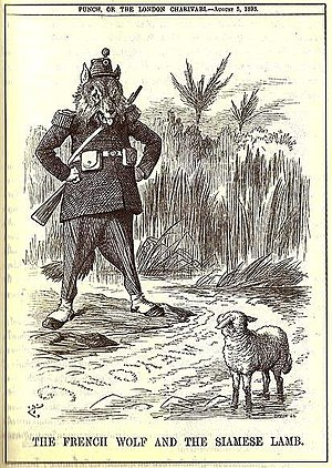 "Franco-Siamese War - Punch Magazine cartoon showing the ""French wolf"" looking across the Mekong towards the ""Siamese lamb"""