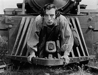 The General (1926 film) - Keaton riding the cowcatcher
