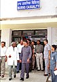 The Home Minister Shri Shivraj Patil talking to a Doctor while coming out of the Burns Ward of Safdarjung Hospital where he visited the BSF jawans injured in the recent bomb blast in Anantnag district of Jammu & Kashmir.jpg