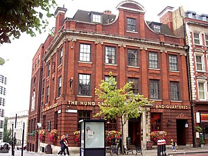 Great Tower Street - The Hung Drawn and Quartered, a traditional pub on Great Tower Street.