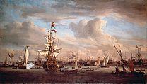 The IJ at Amsterdam with the former flagship 'Gouden Leeuw' (Willem van de Velde II).jpg