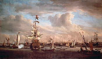 The IJ at Amsterdam with the former flagship 'Gouden Leeuw' (Willem van de Velde II).jpg