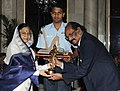 The President, Smt. Pratibha Devisingh Patil presenting the Dronacharya Award-2010 to Shri A.K. Kutty for Athletics, in a glittering ceremony, at Rashtrapati Bhawan, in New Delhi on August 29, 2010.jpg
