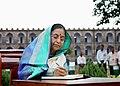 The President, Smt. Pratibha Devisingh Patil signing the visitors book at the National Memorial Cellular Jail in Port Blair during her visit, on December 26, 2007.jpg