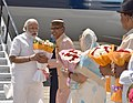 The Prime Minister, Shri Narendra Modi being received by the Chief Minister of Madhya Pradesh, Shri Shivraj Singh Chouhan, on his arrival at Indore Airport on May 14, 2016 (1).jpg