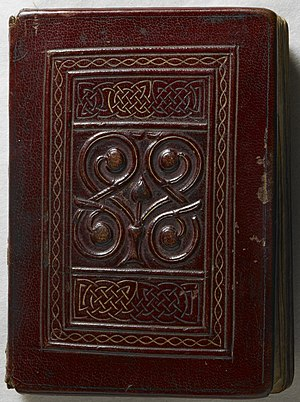 St Cuthbert Gospel - The front cover; the original tooled red goatskin binding is the earliest surviving Western binding.