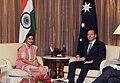 The Union Minister for External Affairs and Overseas Indian Affairs, Smt. Sushma Swaraj meeting the Prime Minister of Australia, Mr. Tony Abbott, in New Delhi on September 05, 2014.jpg