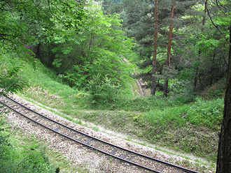 Septemvri–Dobrinishte narrow-gauge line - The track overpasses itself at the first spiral