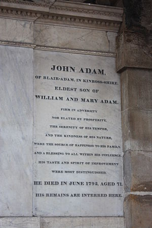 John Adam (architect) - The grave of John Adam, architect, in the Adam mausoleum, Greyfriars Kirkyard