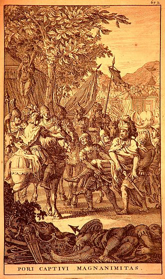 Magnanimity - The magnanimity of Alexander towards the captive Porus.