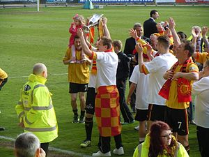 2012–13 Partick Thistle F.C. season - Thistle are crowned champions. James Craigen holds the trophy.