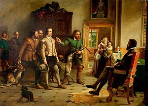 Thomas Lucy - Shakespeare Before Thomas Lucy by Thomas Brooks, a typical Victorian portrayal of the poaching story.