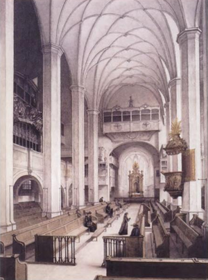 Bach cantata - Thomaskirche, one of the two Leipzig churches where Bach composed and performed church cantatas almost weekly from 1723 to 1726