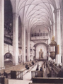 Interior of the Thomaskirche, location of the first performance, black-and-white look along the nave